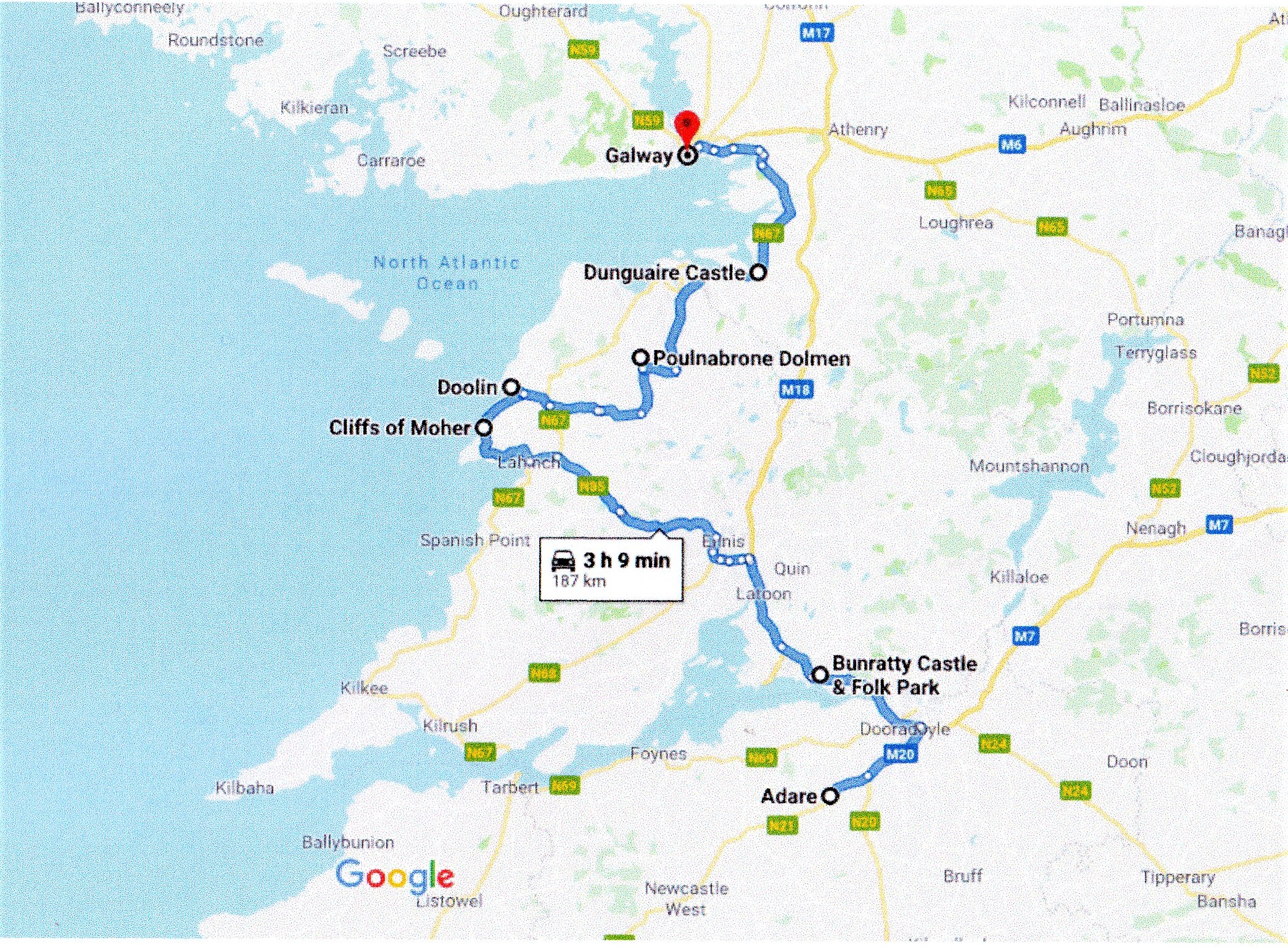 Google route map Galway to Dublin