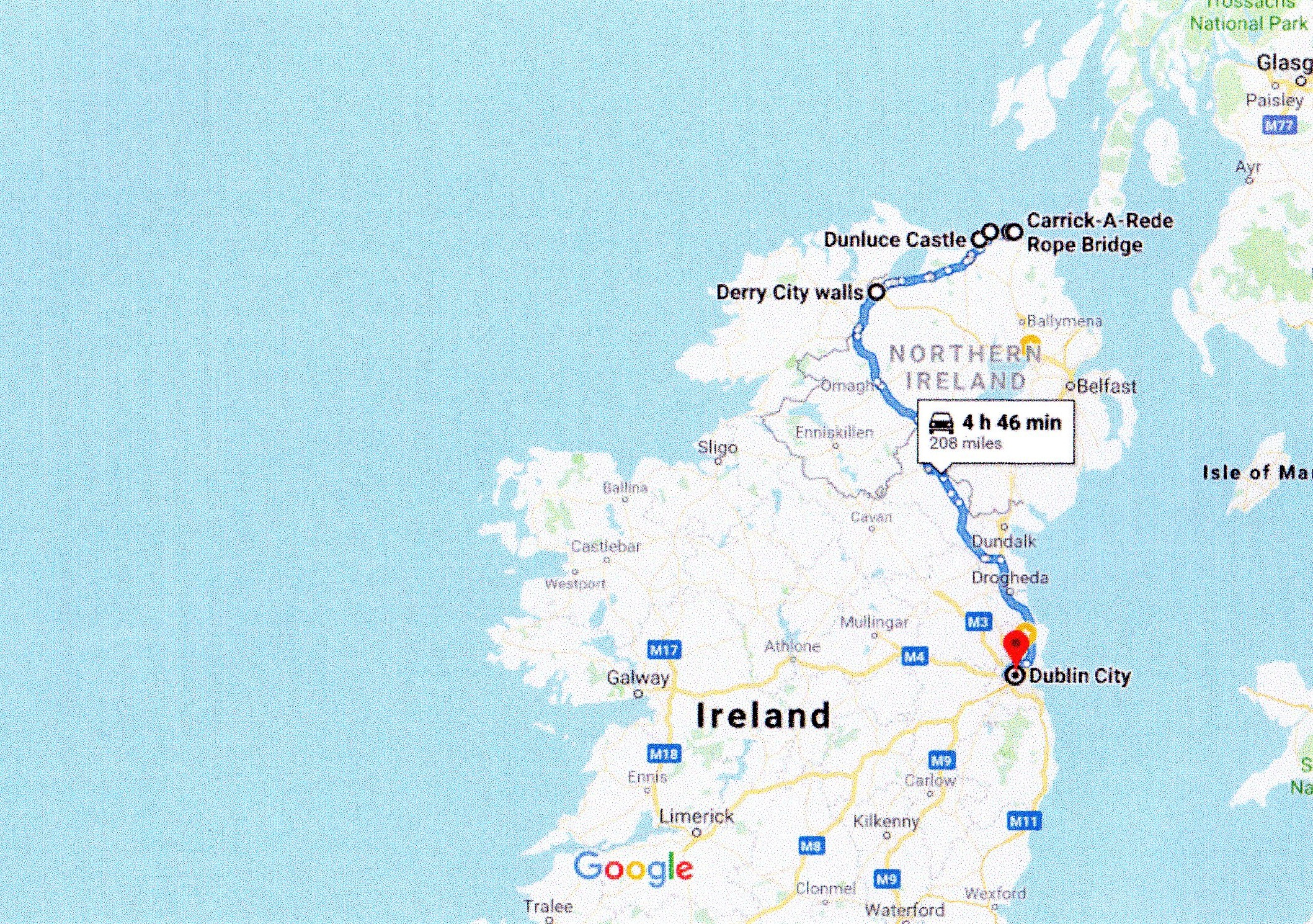 Google road map Ballycastle to dublin via the derry walls