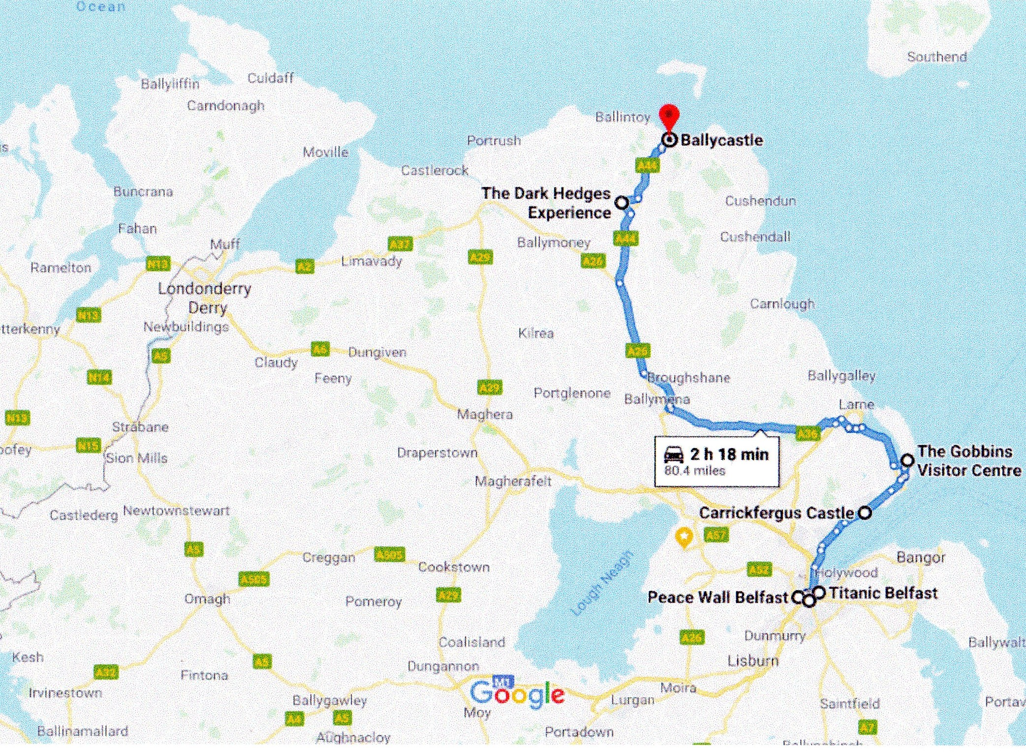 Google route map for Belfast to Ballycastle via Carrickfergus