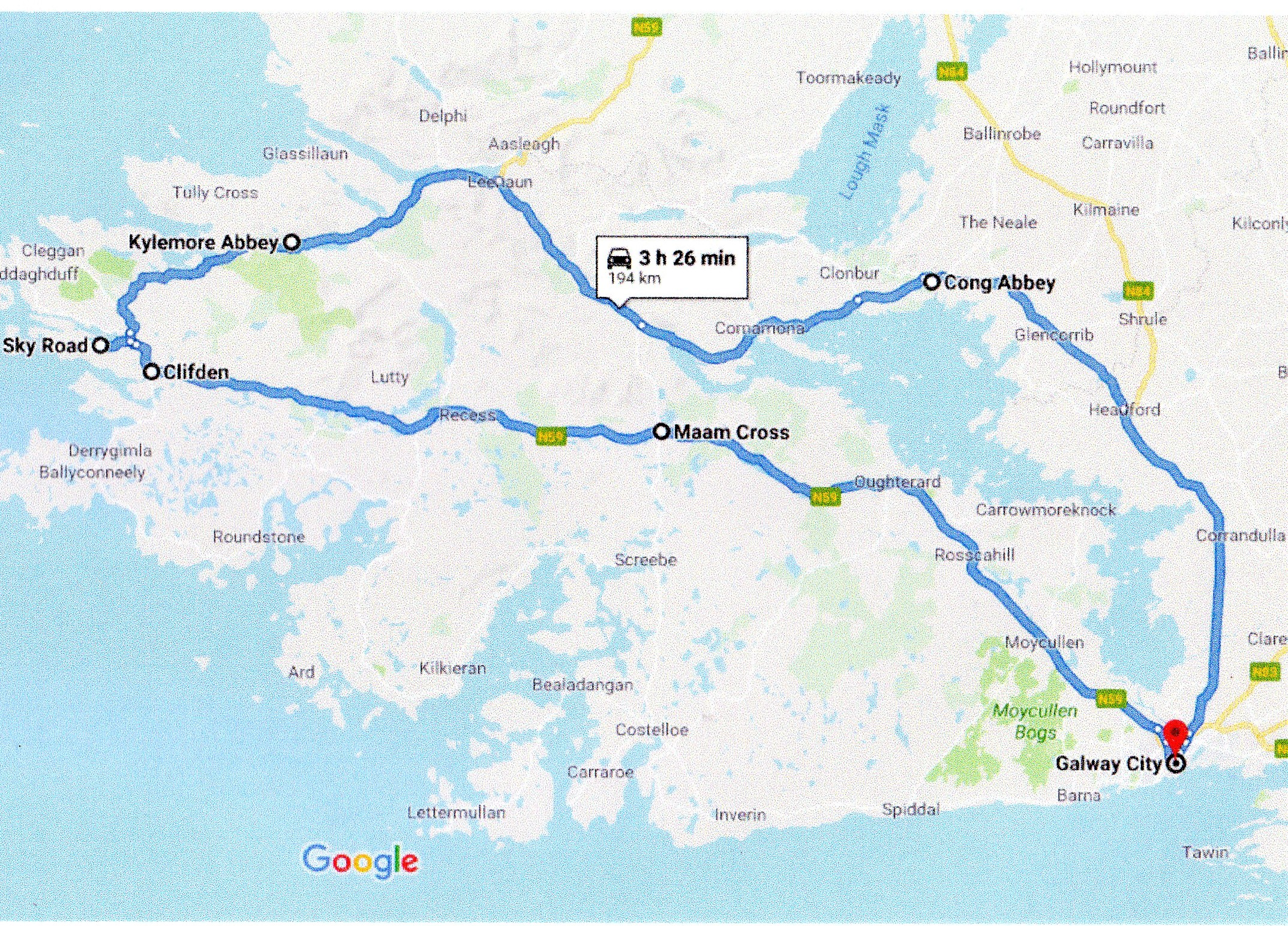 google route map of a connemara day tour