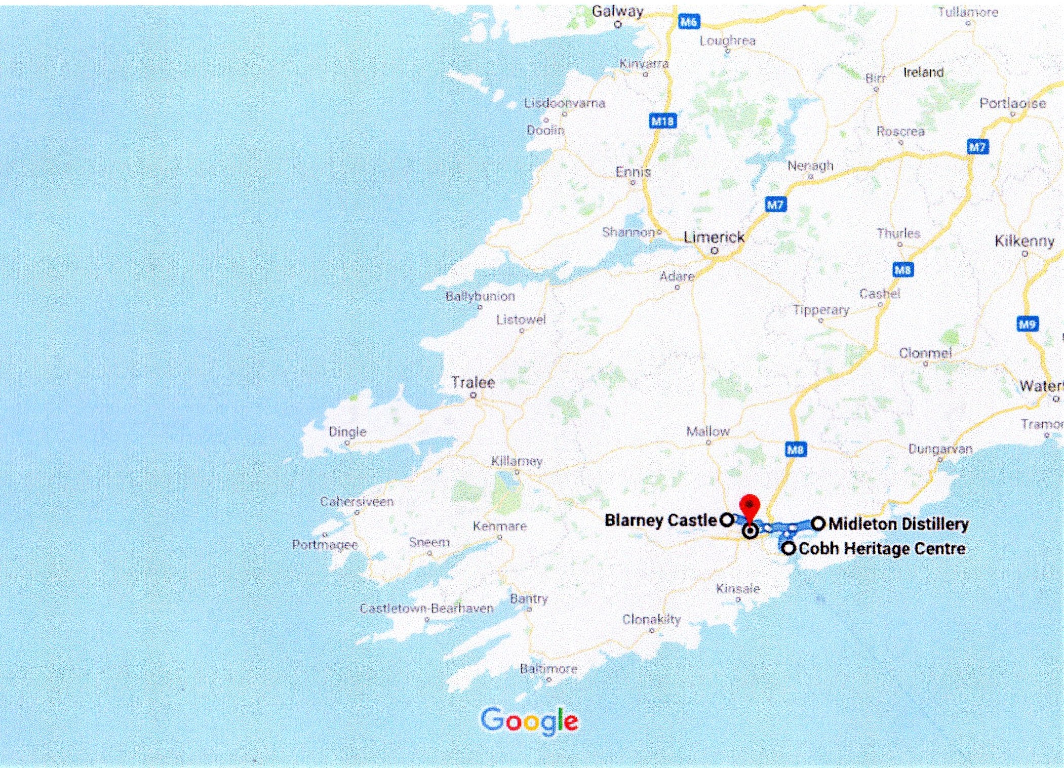 Google map of cork city and surrounding areas