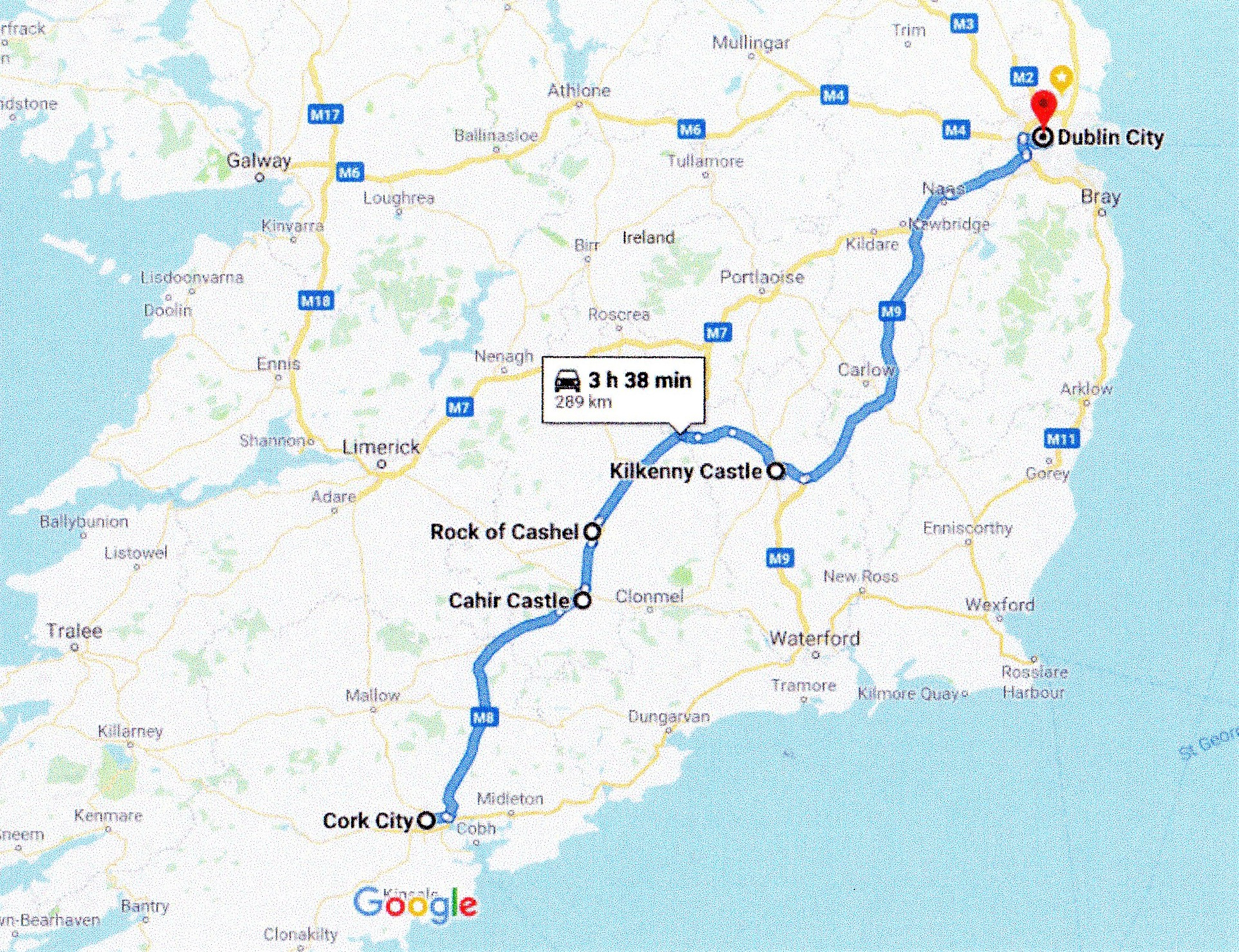 google route map Cork to Dublin route map via Kilkenny