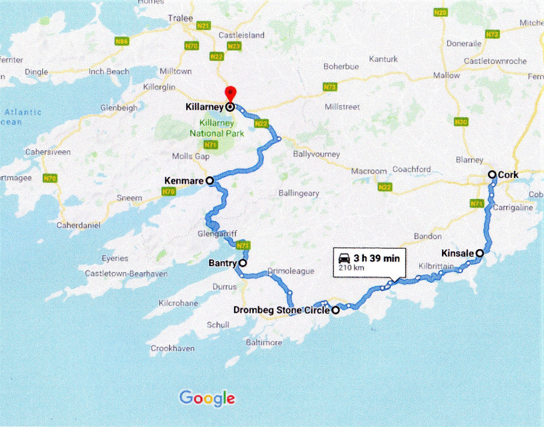 Google route map Cork to Killarney