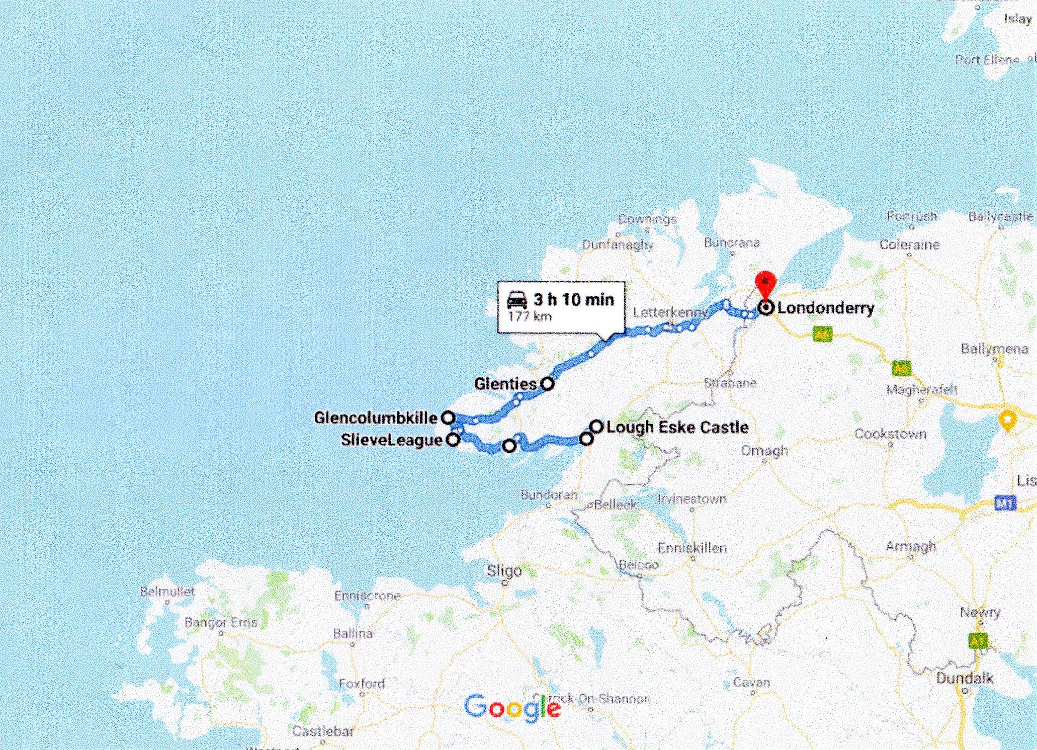 google route map donegal to derry
