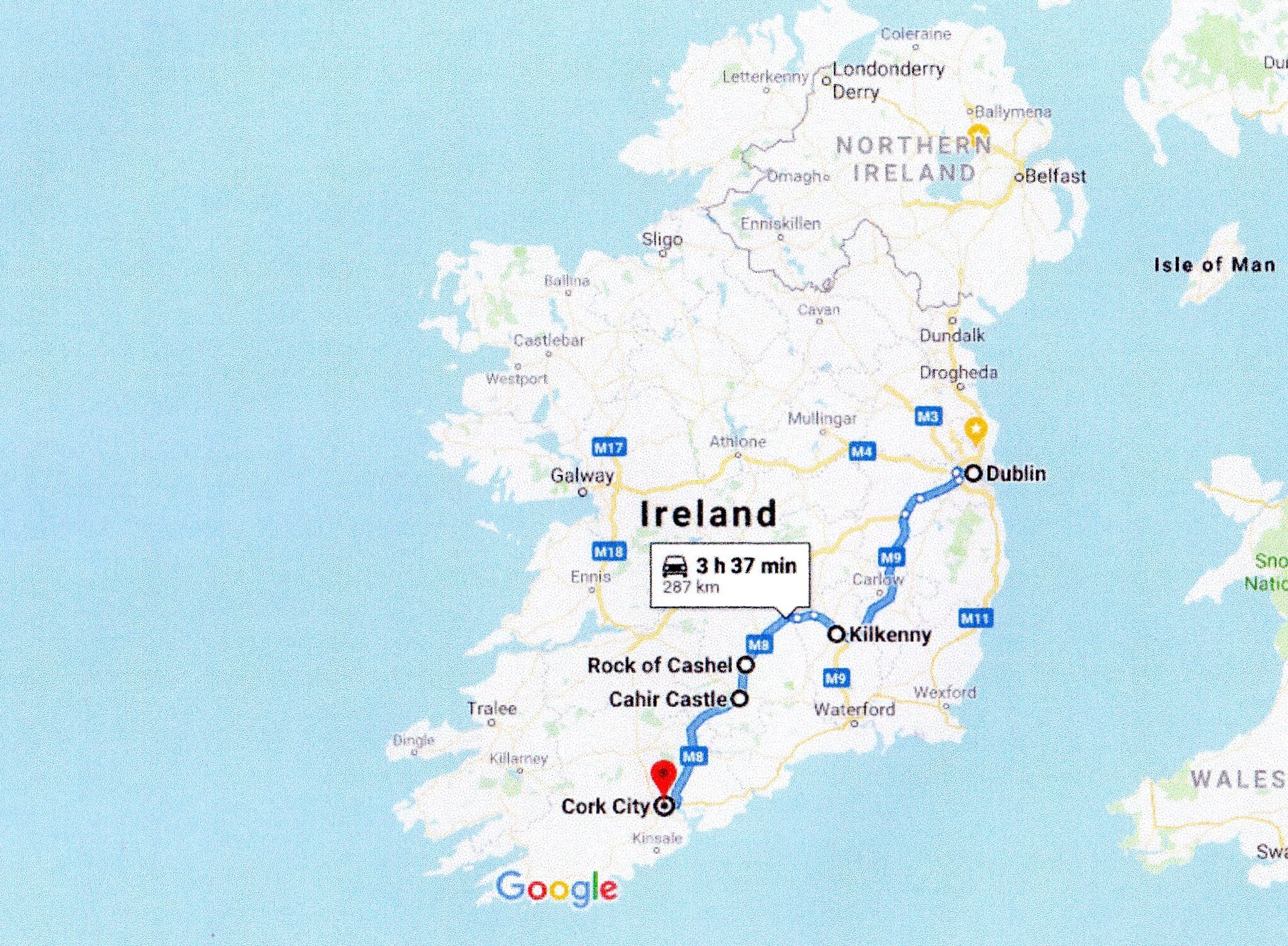 Google route map dublin to cork