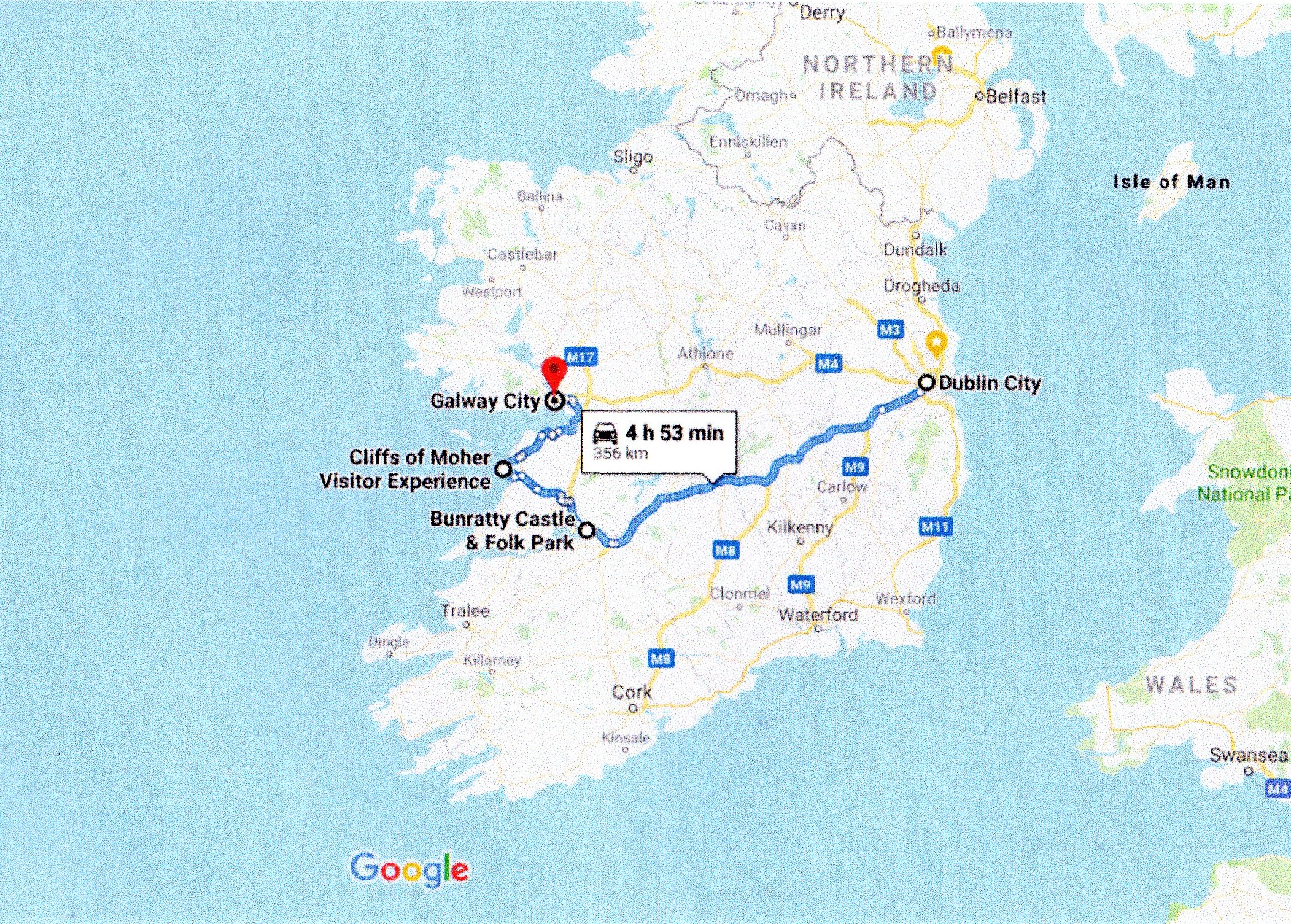 Google route map dublin to galway via the cliffs of moher