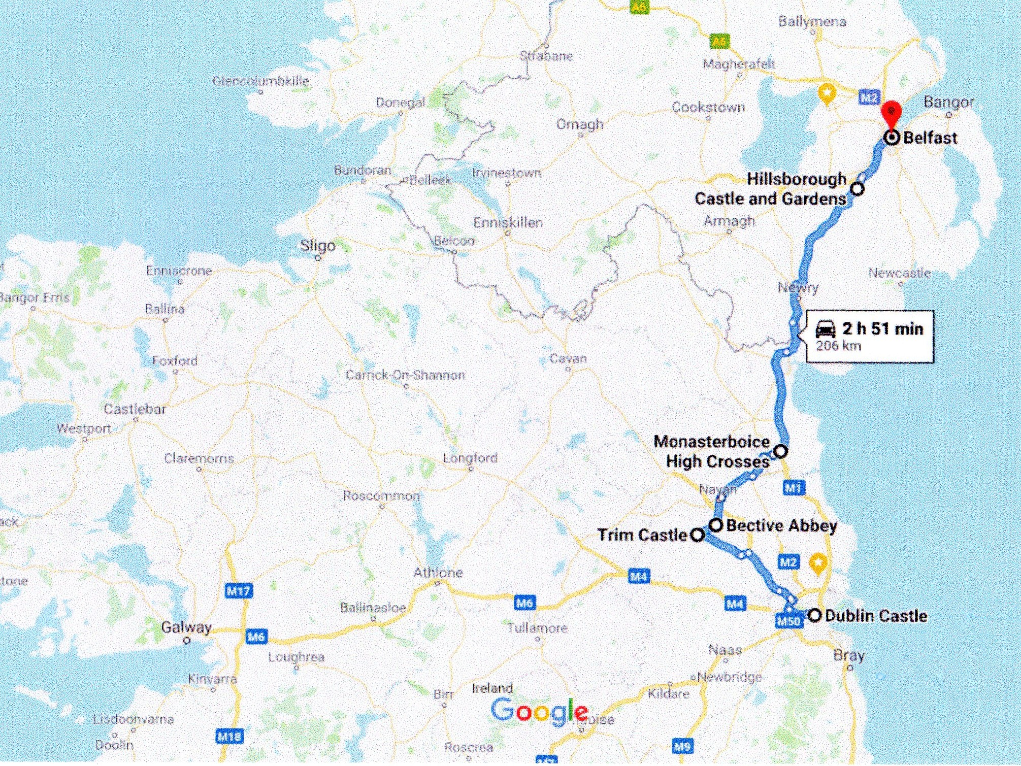 Google route map dublin to Belfast via Trim Castle