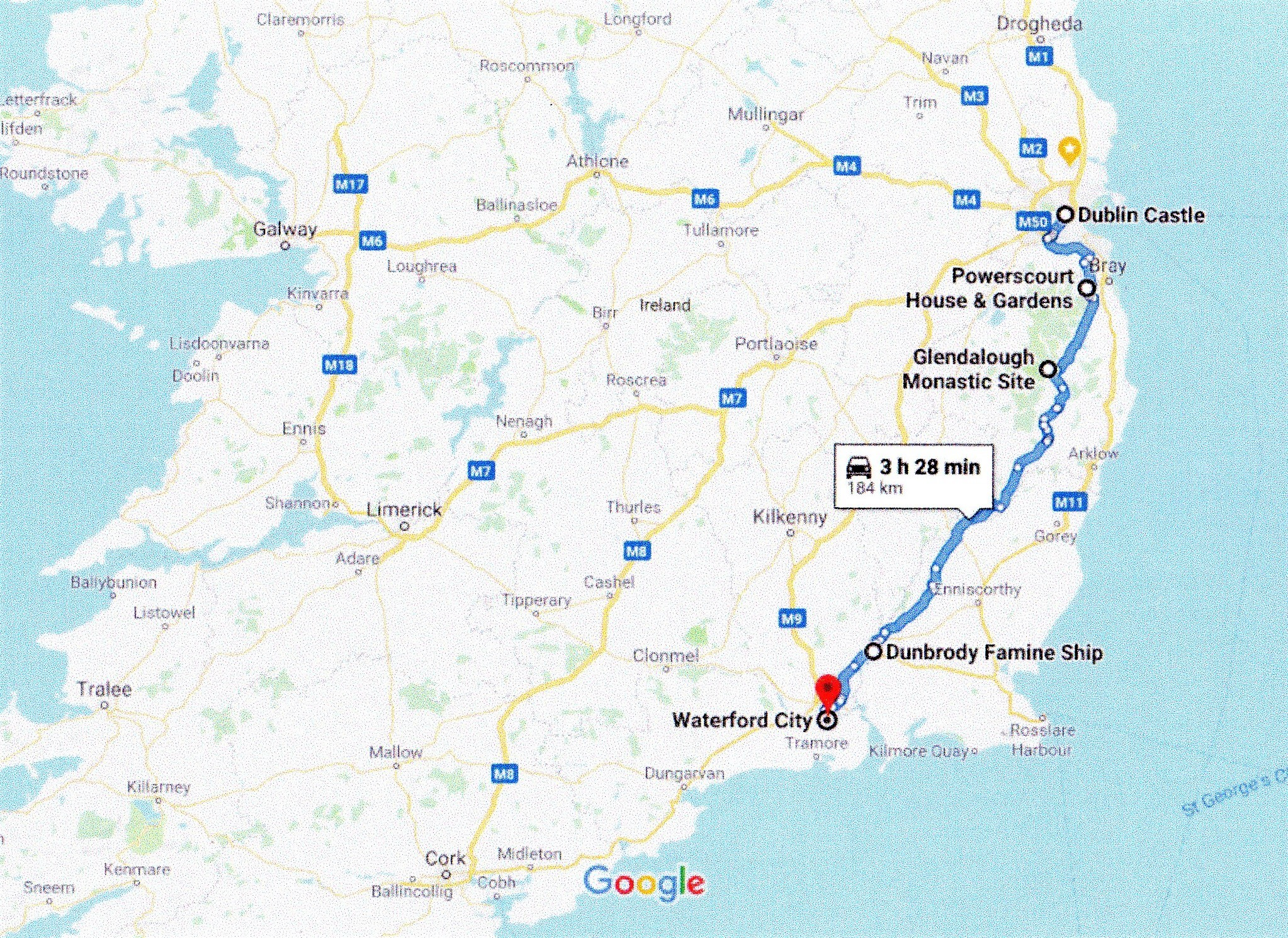 Google route map Dublin to Waterford via Glendalough