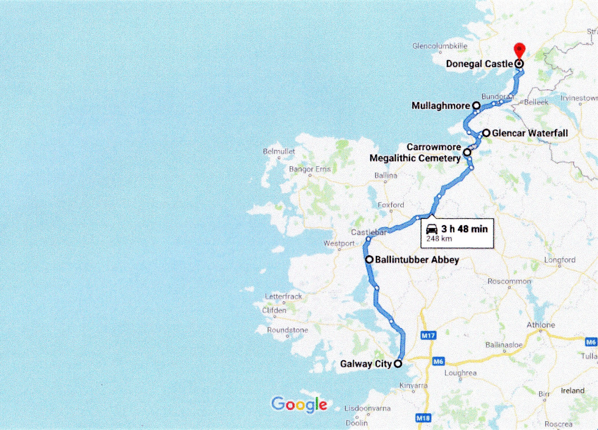 Google route map of galway to donegal