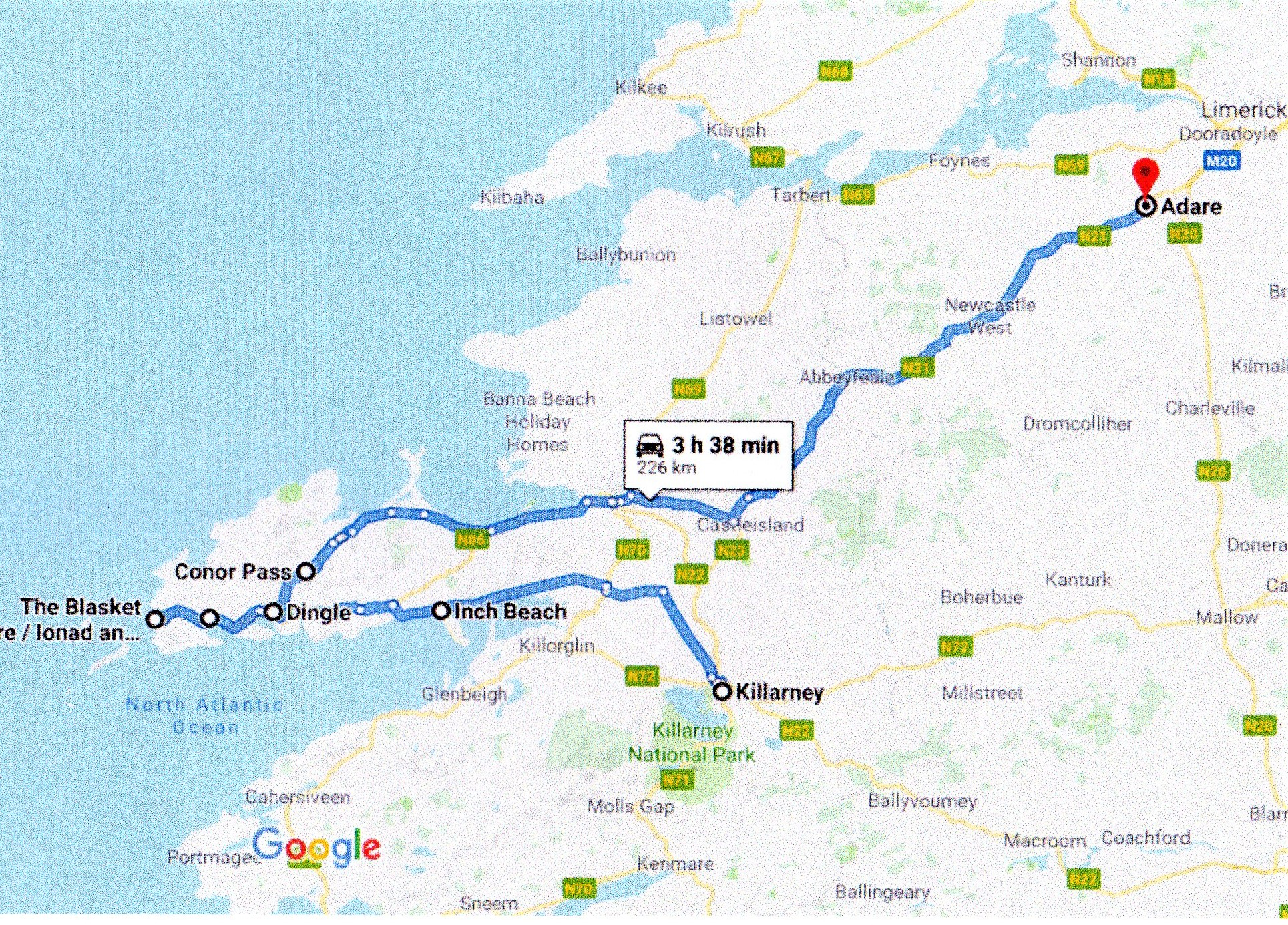 Google route map killarney to adare in county limerick
