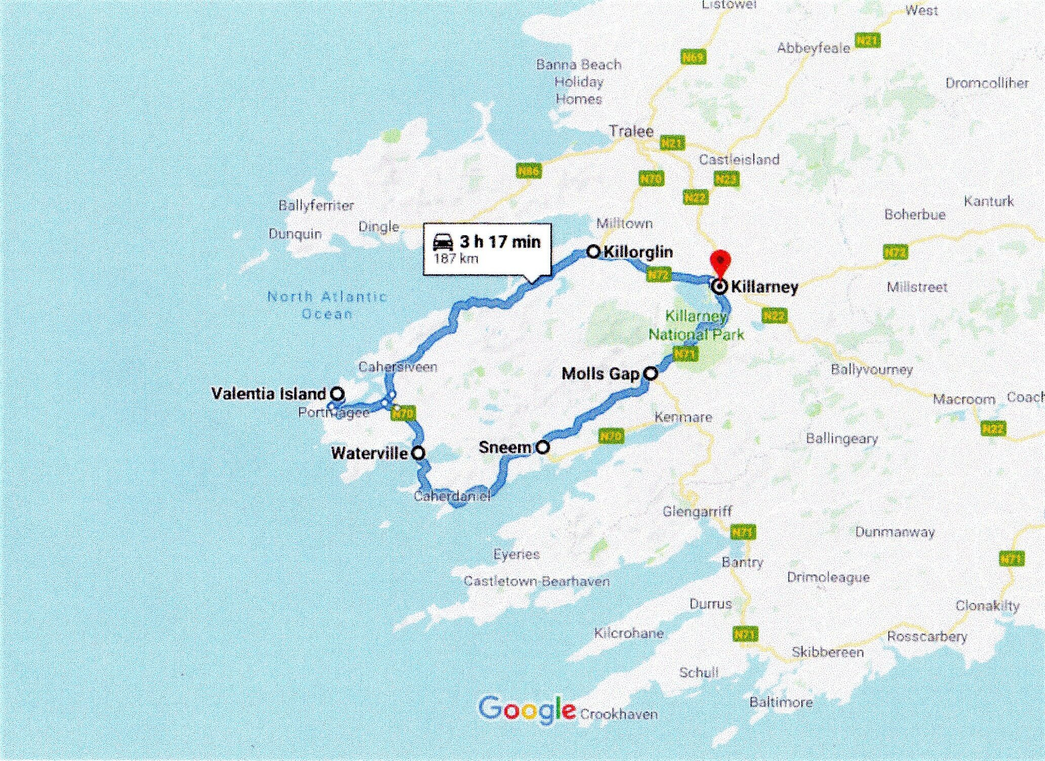 Google routh map of the ring of kerry