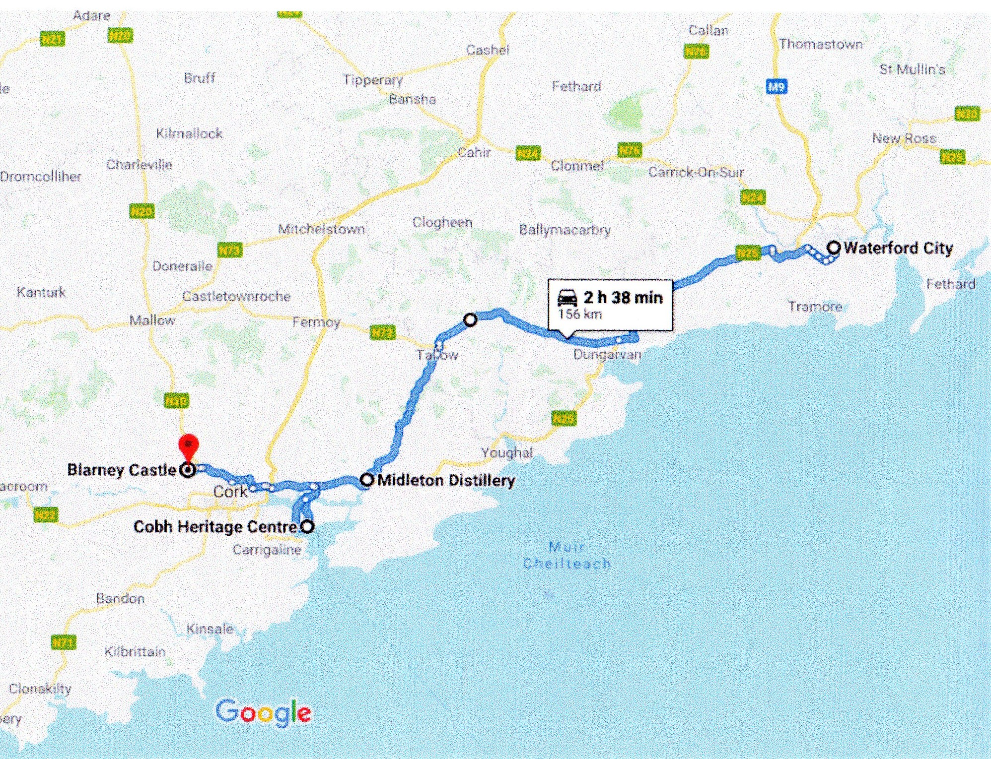 Google route map Waterford to Blarney via Cobh